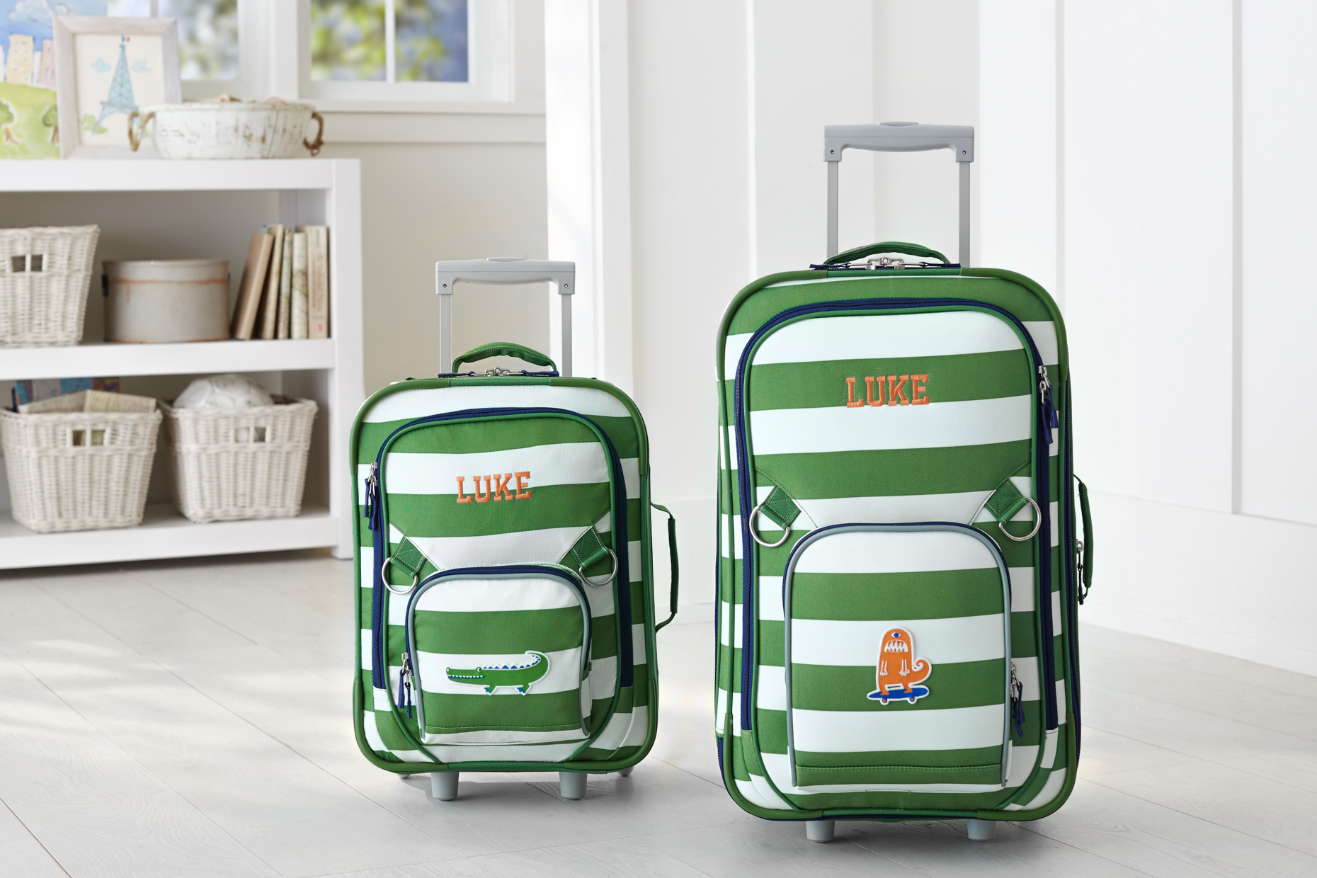 Fairfax Green and White Luggage